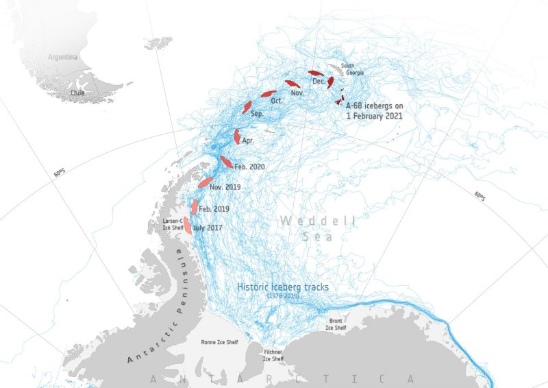 Map with iceberg's positios and dates labeled.