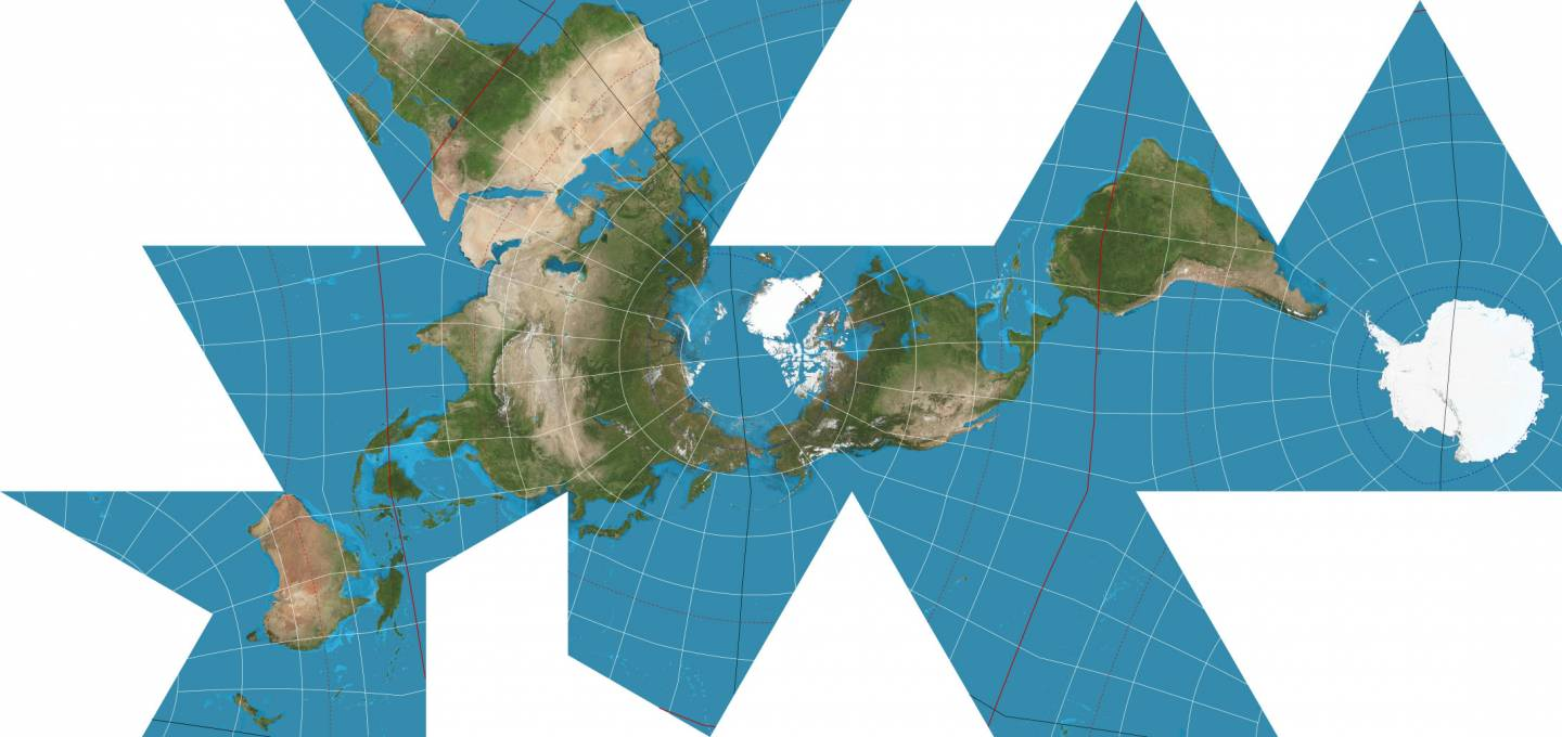 Asymmetrical map of the world made of a lot of connected triangles.