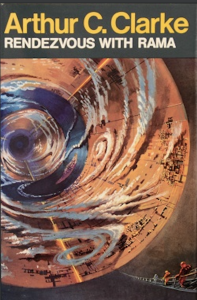 Inside reddish, cloudy cylinder with space-suited people and title and author name.