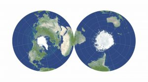 Two circular maps of the Earth with polar regions in the centers.