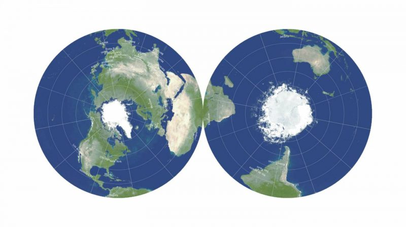 Two circular maps of the Earth.