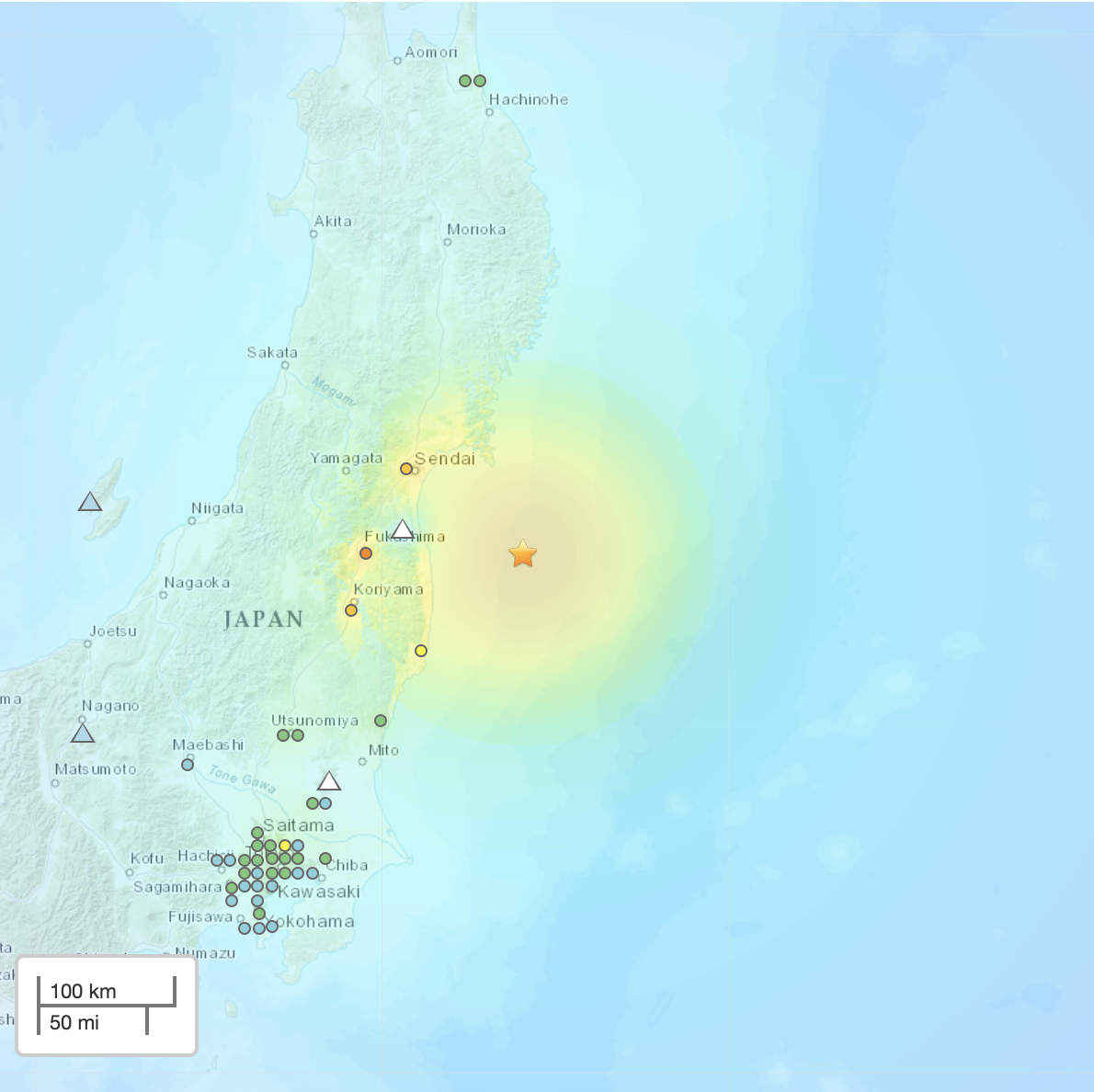 Map of northern Japan with yellow circle in sea covering some land.