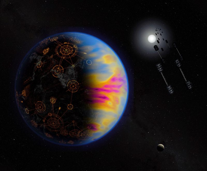 Planet with neon-colored clouds and city-like on the surface, with barbell-shaped orbiting objects nearby.