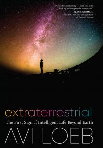 A human looking at a starry sky and Milky Way, with title and author's name below.