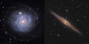 Two galaxies, one from the fron, one from the side, seen as a flat disk in purple and a diagonal line in yellow.