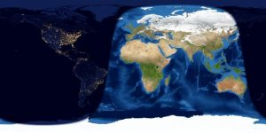 Map of Earth with Eastern Hemisphere in day and Western in night.