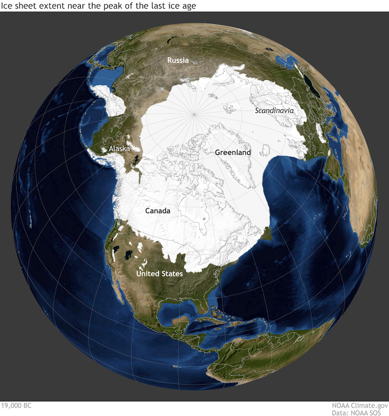 Map of the globe showing very large northern ice cap in white.