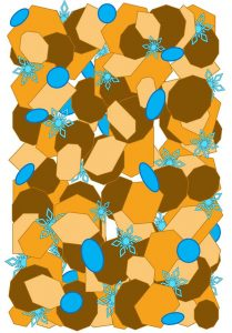 Various blue, orange and brown shapes including snowflakes mixed together.