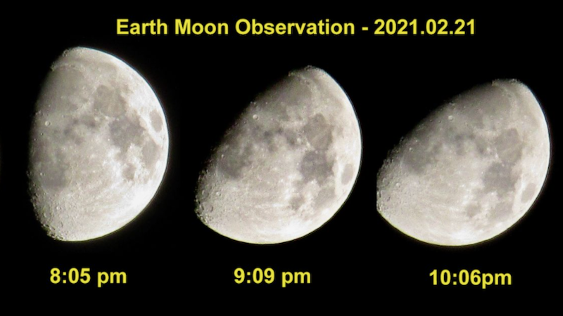3 gibbous moons tilted a little differently each labeled with time of night.