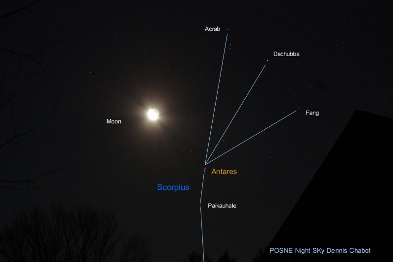 A waning moon, near the upper part of the constellation Scorpius.