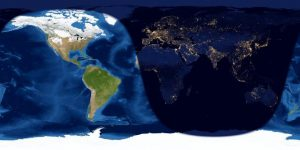 Worldwide map of day and night sides of Earth one day after new moon.