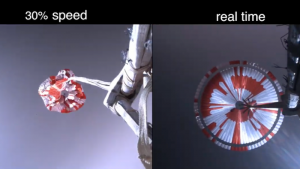 A split screen. Left: a red and white parachute is opening. Right: it appears fully deployed.