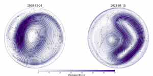 Diagrams: left, purple lines around center; right, boomerang shaped lines to right of center.