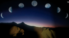 A composite image, showing a mountain ridgeline with the large figure of a human snoozing alongside, and various moon phases arcing overhead.