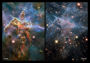 A 2-panel image with dense clouds in space on the left and the same clouds more tenuous with more stars on right.