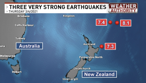 Map showing the epicenters of the 3 large March 4, 2021 earthquakes in New Zealand.
