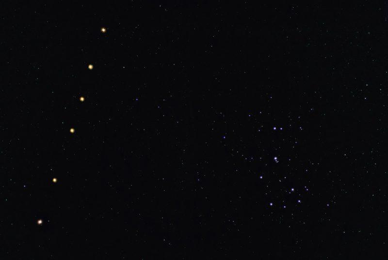 6 orange dots alongside the Pleiades cluster.