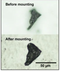 2 grayscale panels, both featuring a small triangular flake of rock.