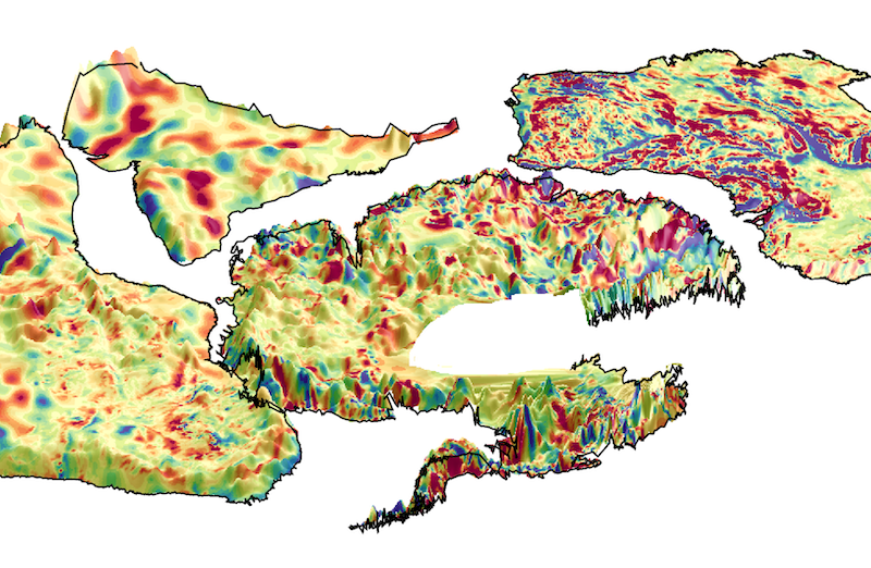 Irregular yellow shapes - protocontinents - with altitude contours in color.