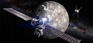 The moon is illustrated with two satellites in orbit around it.