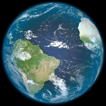 Earth from space showing the Atlantic Ocean, South America, and part of Africa.