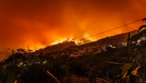 Huge orange fire at night on top of hill with homes in front.