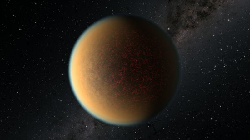 Planet with bright atmosphere and stars in background.