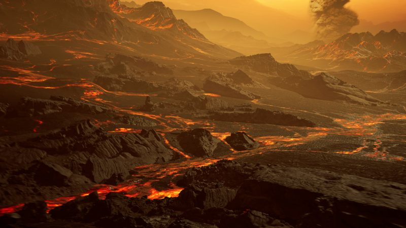Landscape with lava cracks and erupting volcano under red clouds.