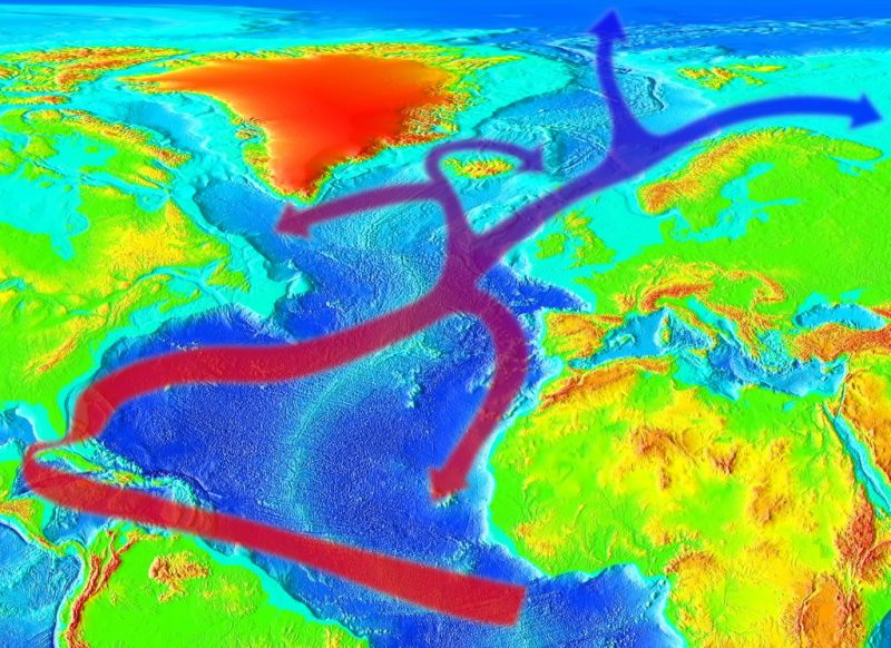 Map of the world with continents in fluorescent green, with red and blue arrowed lines in the ocean.