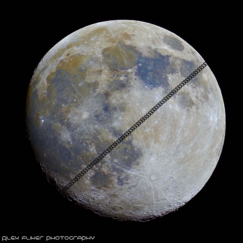 Full moon with colors emphasized, and a band of the silhouette of the international space station passing by on the diagonal.