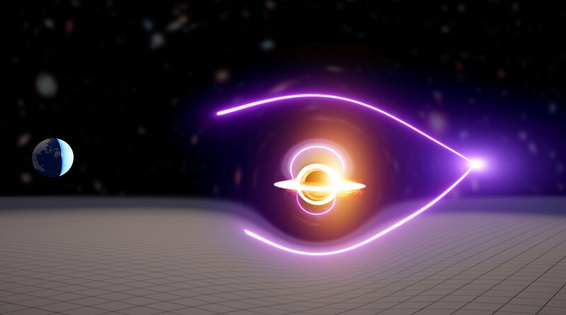 Colorful diagram of bent lines passing around object between bright star and Earth.