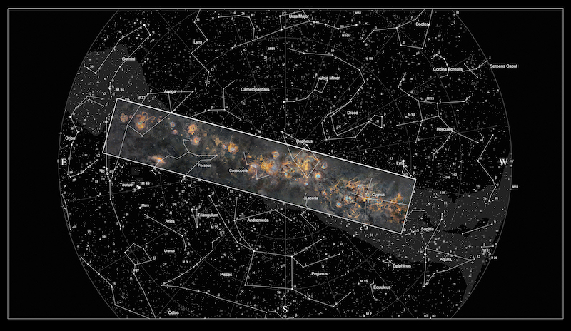Round view of night sky with stars and constellations labeled, and a slanted rectangle enclosing the Milky Way.