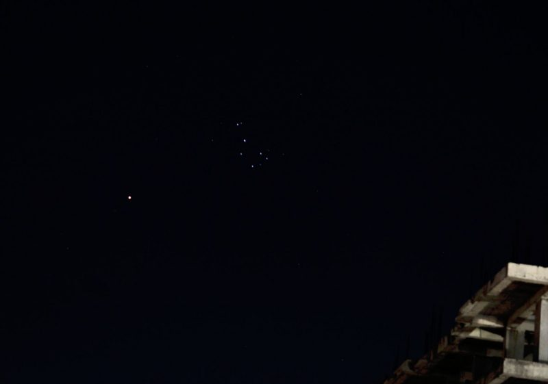 Wide view with roofline of Mars and Pleiades.
