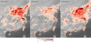Three maps of China will orange blobs of different sizes.