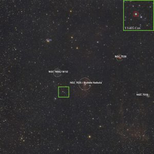 Labeled starfield with box around the nova.