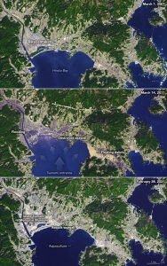 Three satellite images of a Japanese city, showing the devastation from the 2011 tsunami and subsequent recovery.
