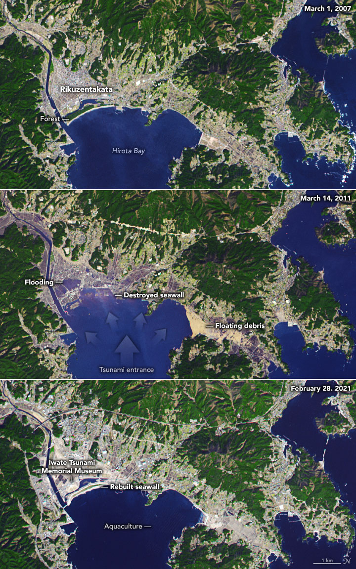 Three satellite images of a Japanese city around a bay with damage labeled in middle image.