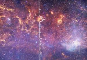 Purple/blue/pink/orange gas with stars and a vertical white line with extensions to the right passing through.