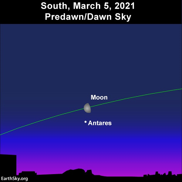 The moon and the star Antares light up the early morning sky on March 5, 2021.