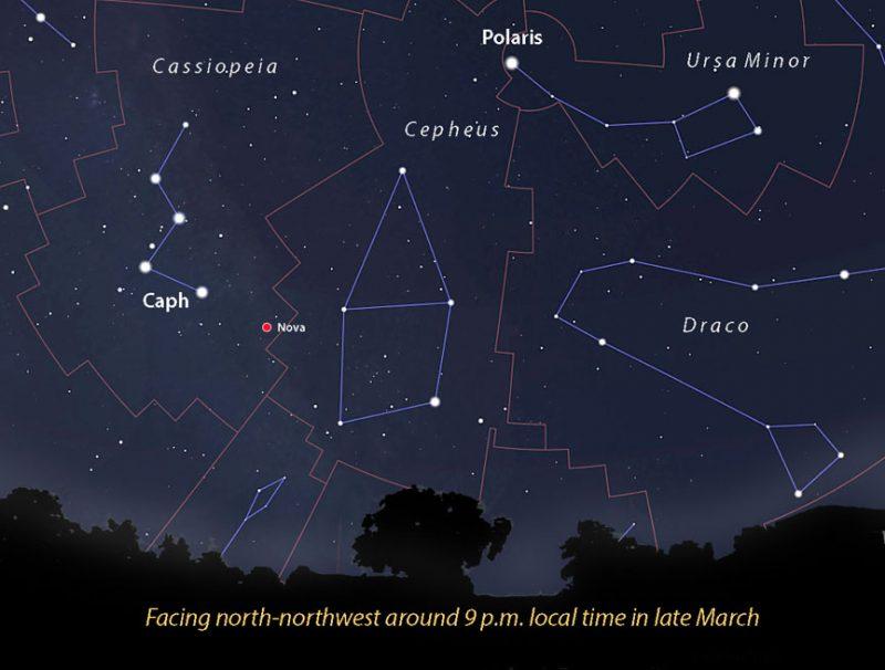 Карта звездного неба с линиями созвездия, показывающими новую звезду красной точкой.