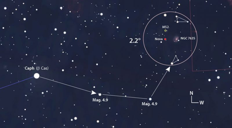 Карта звездного неба с крупным планом над регионом Нова.