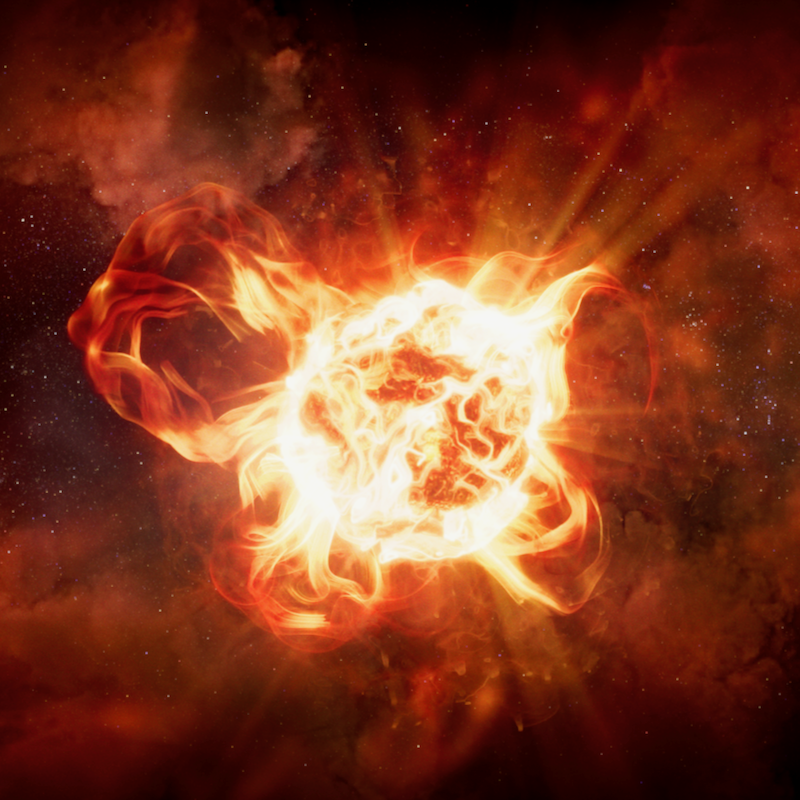 Giant red star with huge loops of plasma emerging from its surface and clouds of dust surrounding it, on dark background.