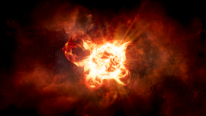Giant red star with huge loops of plasma and dust.