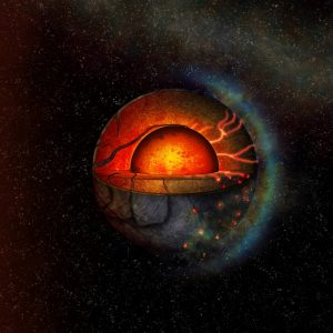 Cross-section of planet with red molten interior.