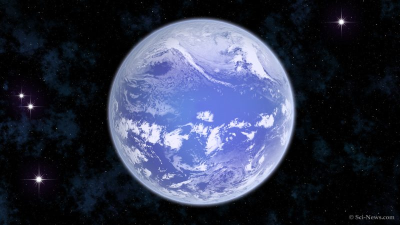 A round planet covered with blue ocean with white clouds, in a field of stars.