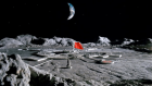 An artist's concept of a wheel-shaped base on the moon.