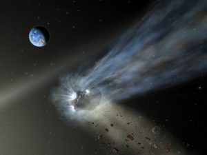 A rocklike object with a trail of blue mist in space, with planet Earth in the background.