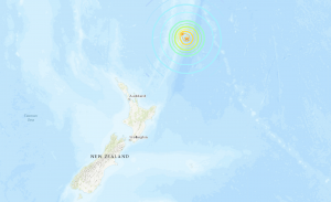Map of New Zealand 8.1-magnitude earthquake epicenter.