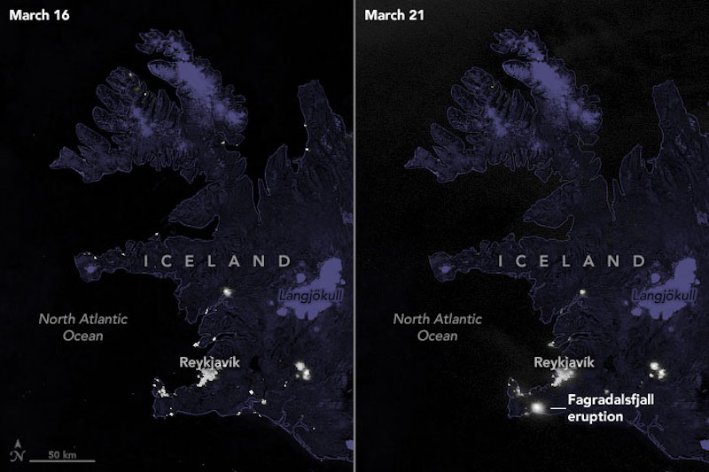 Two dark satellite images of Iceland, with small dots of light.
