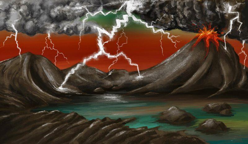 Painting of volcano, orange sky, lightning.